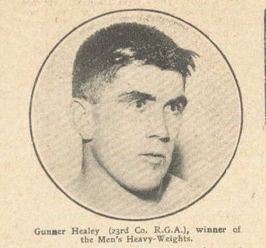 Gunner Healey, Royal Garrison Artillery, heavyweight champion 1911.