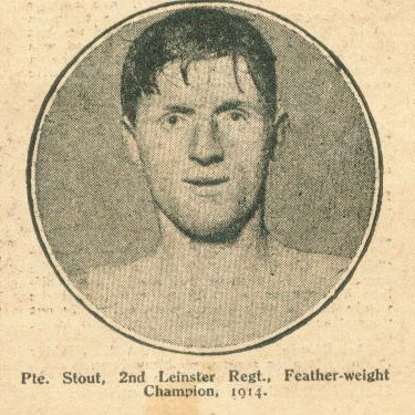 Pte. Stout, 2nd Leinster Regt., featherweight champion 1914.