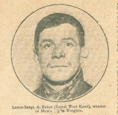 Lance Sergeant Baker, Royal West Kents, lightweight champion 1914.
